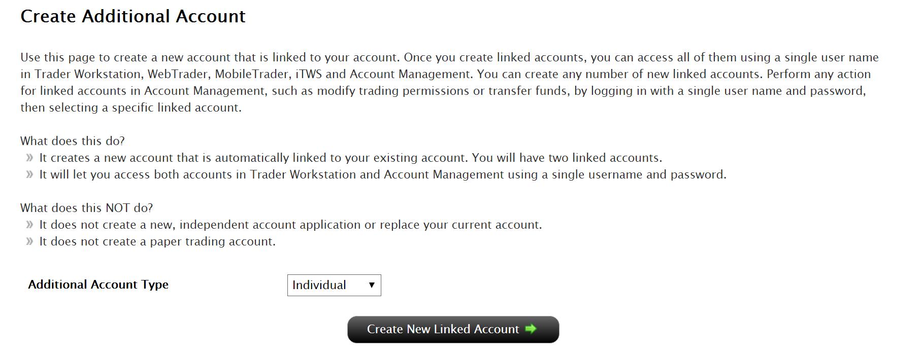IB Linked Account Screen Image